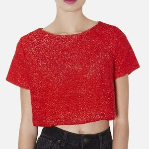 Textured Metallic Crop Tee TOPSHOP Retro Glam